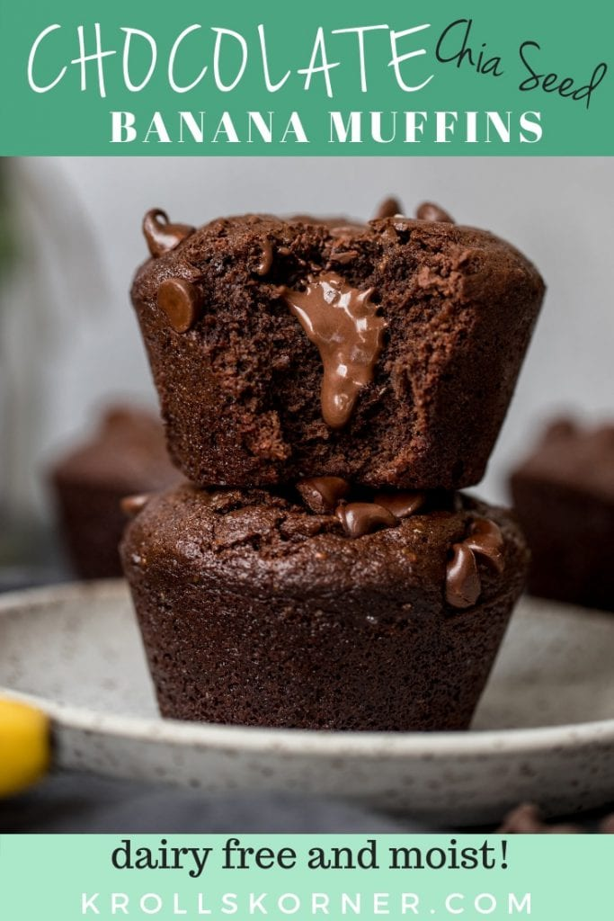 jumbo chocolate muffins stacked on top of each other on a white plate