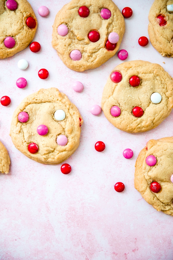 cookies on a pink board