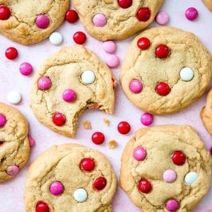 cookies with m&ms valentines day theme