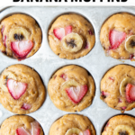 strawberry banana muffins fresh out of the oven
