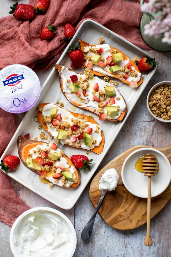 yogurt on sweet potato toast with avocado and strawberries