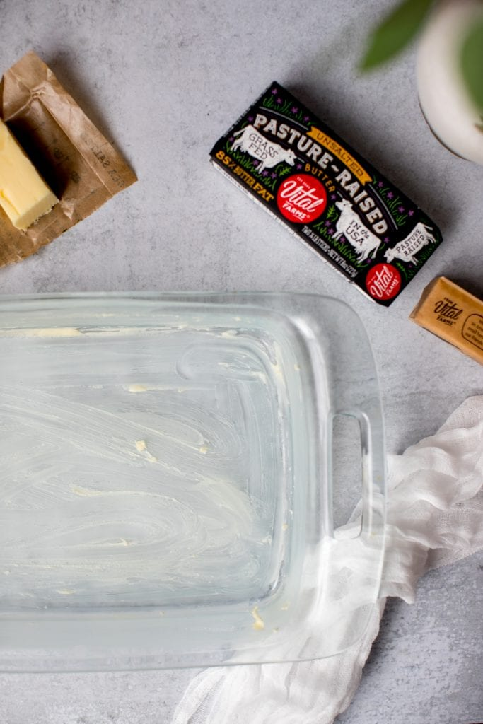 buttered baking dish ready for easy egg bake recipe