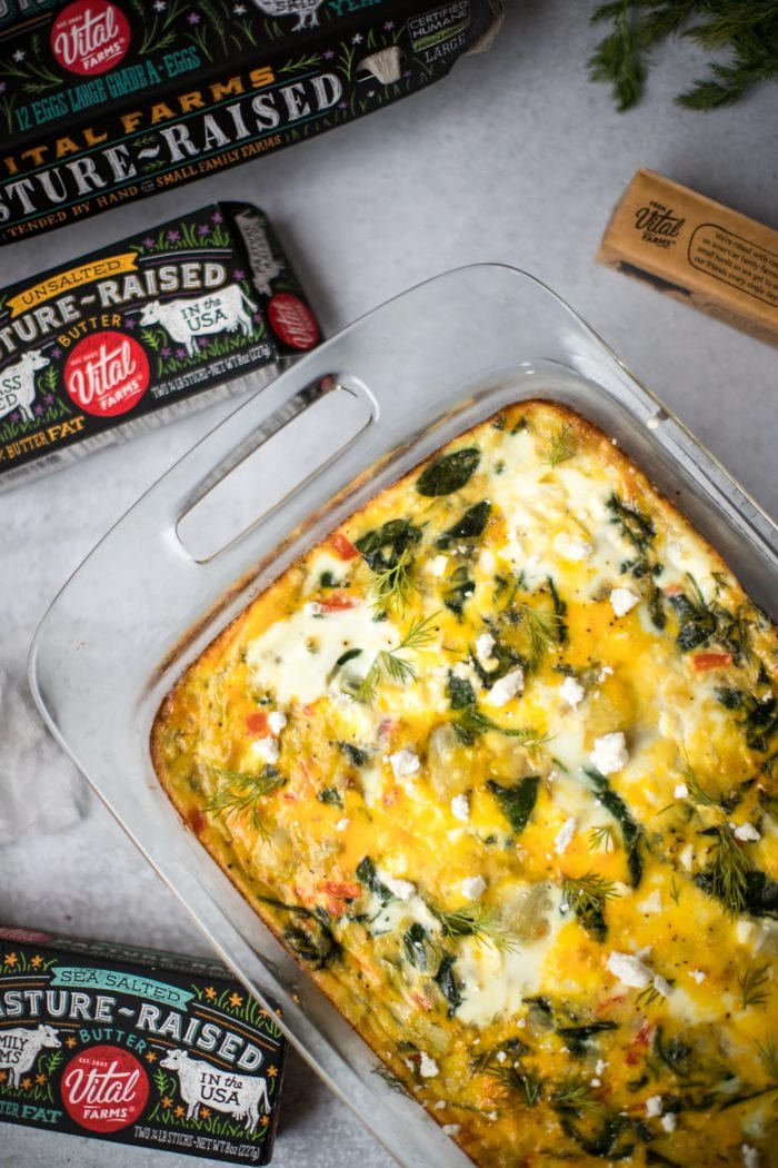overnight spinach and asparagus egg bake