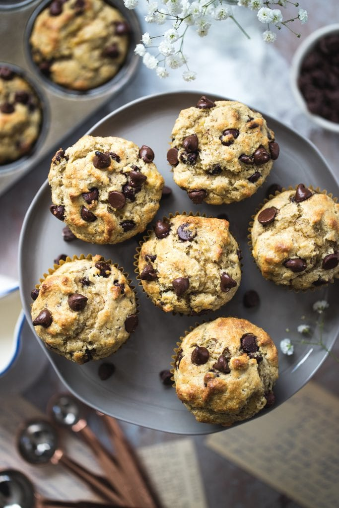 almond flour chocolate chips muffins on a cake stand