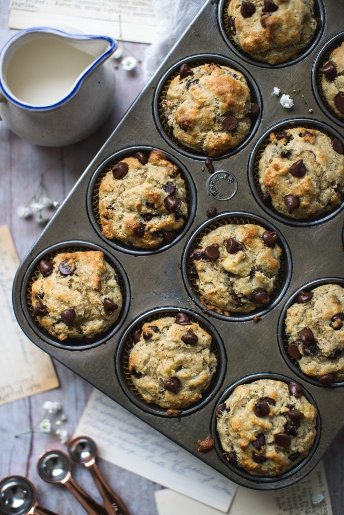 almond flour chocolate chips muffins in a cupcake tin