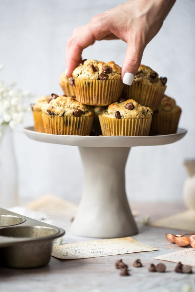 almond flour chocolate chips muffins on a cake tray