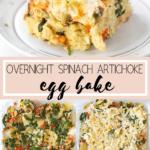 spinach artichoke egg bake in a casserole dish
