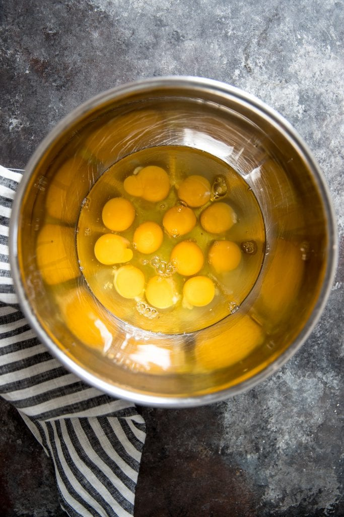 eggs out of their shell in a large bowl