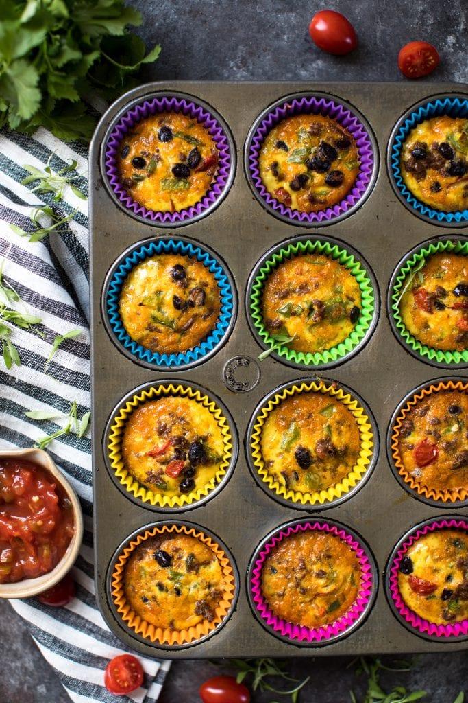 egg taco breakfast muffins in a cupcake tin