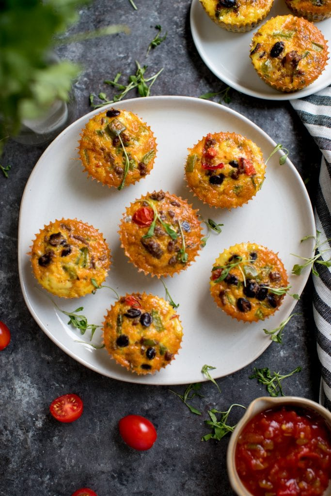 egg taco breakfast muffins on a white plate