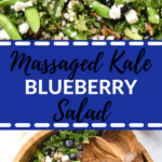 kale and blueberries tossed together in a vinaigrette in a large wooden bowl