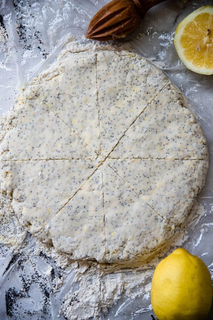 lemon poppyseed scones cut into 8 scones