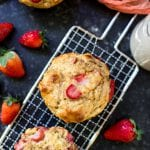 strawberry banana muffins on a potato grater