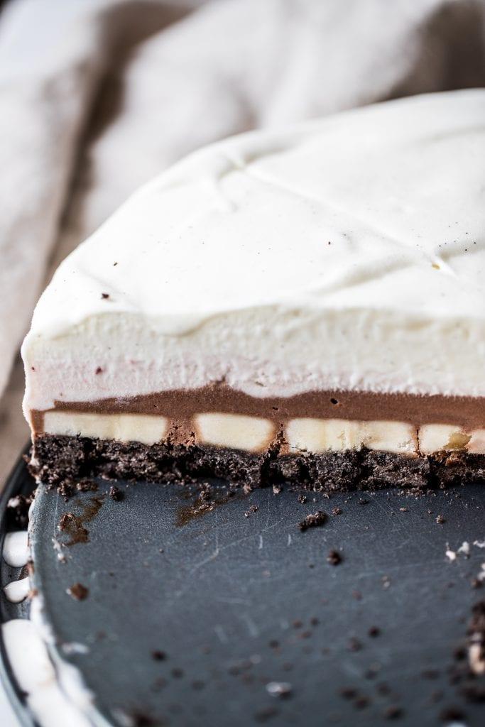 ice cream cake with oreo crust on a pie pan