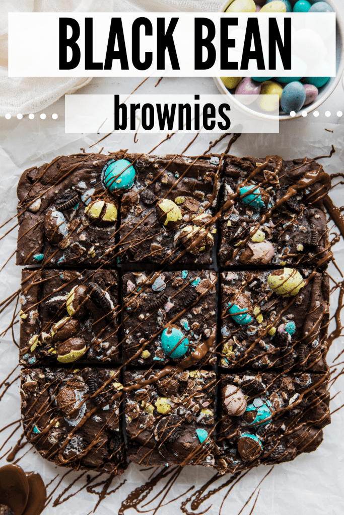 Easter themed black bean brownies on parchment paper