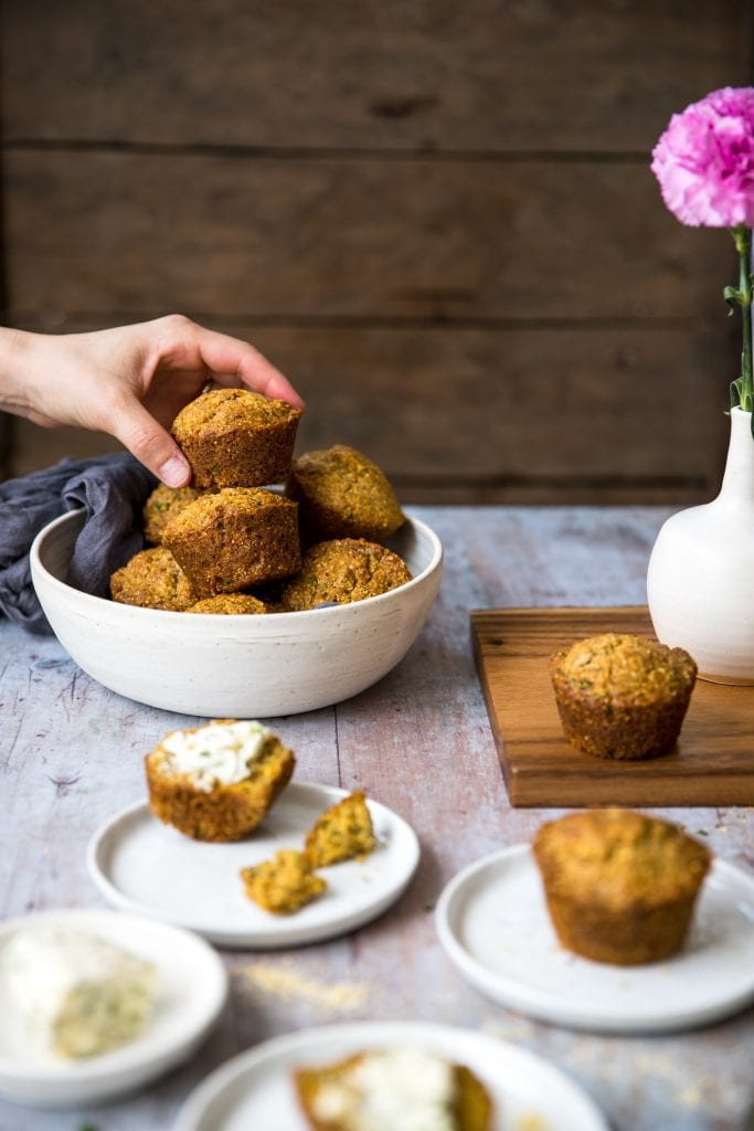cornbread muffins on a table