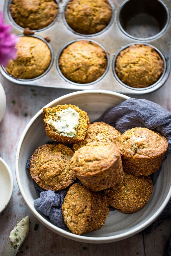 cornbread muffins in a large white bowl