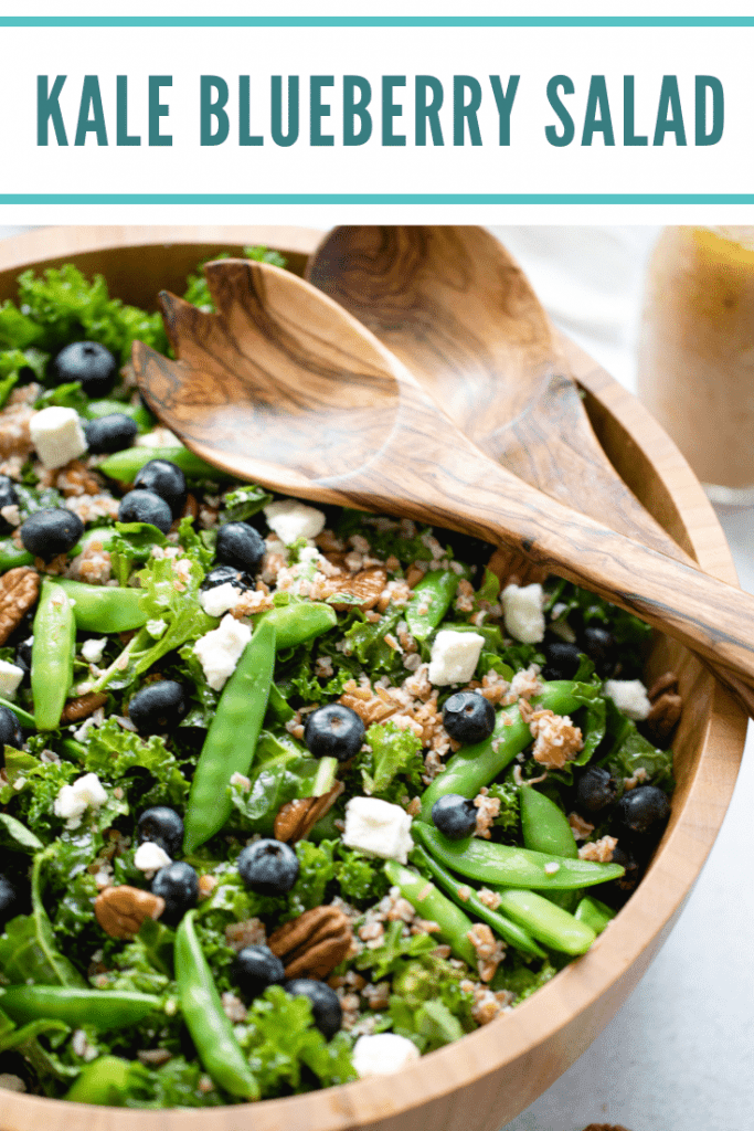 kale salad in a large wooden bowl
