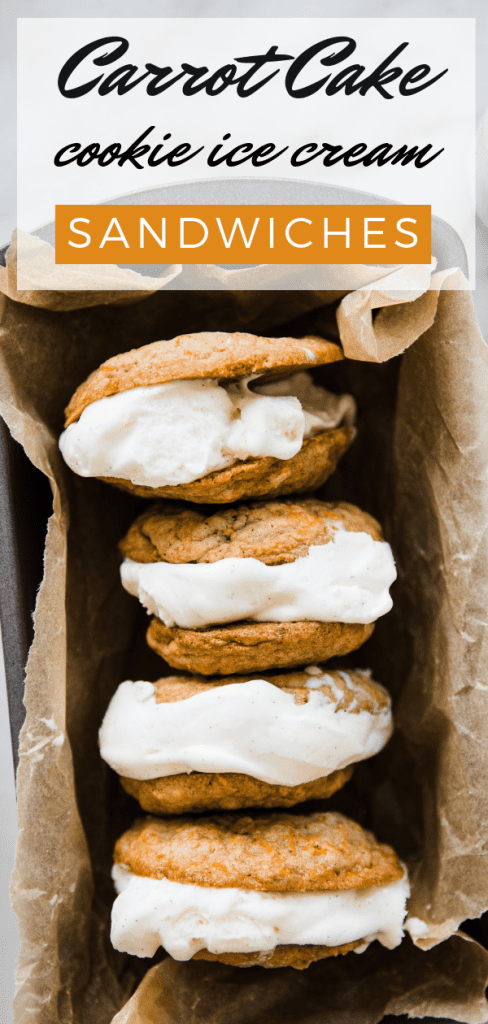 carrot cake cookies with ice cream in the center