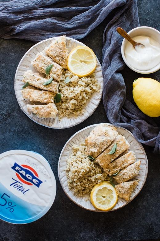 Greek yogurt chicken on white plates