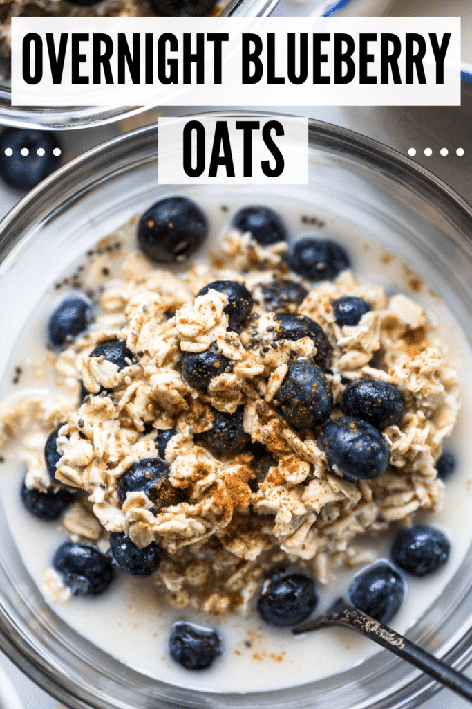 overnight blueberry oats in glass bowls