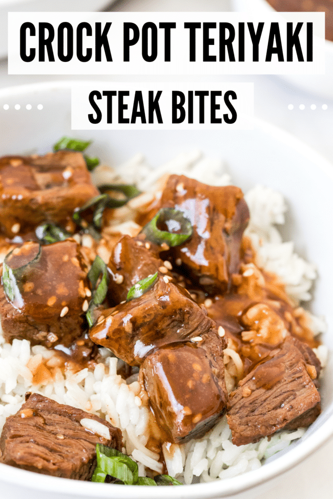 teriyaki slow cooker steak bites in a white bowl with rice
