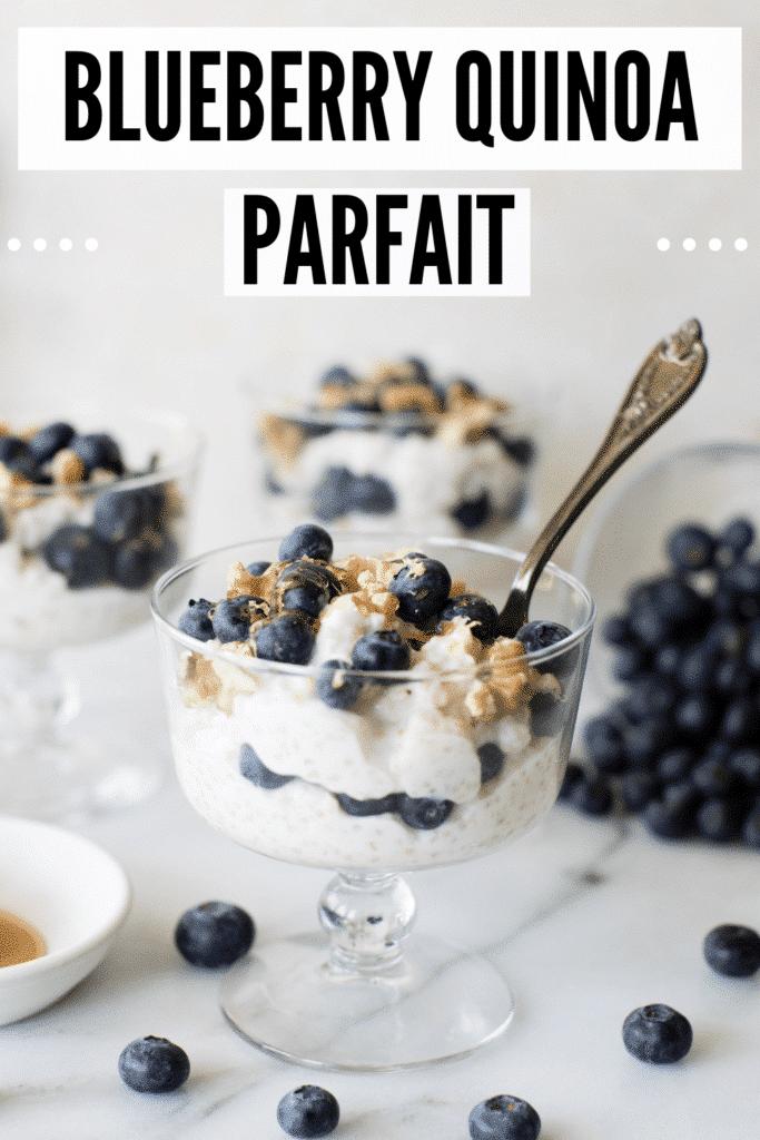 a blueberry parfait in a parfait glass