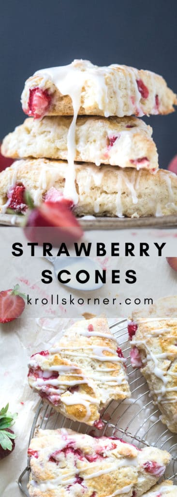 Scones made with strawberries with a glaze on a plate