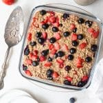 baked oatmeal in a glass dish