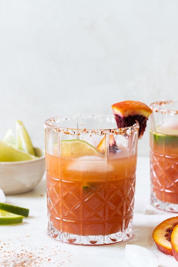 blood orange margarita in a glass
