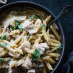 chicken and penne noodles in a bowl