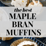 maple bran muffins with coffee on a cooling rack