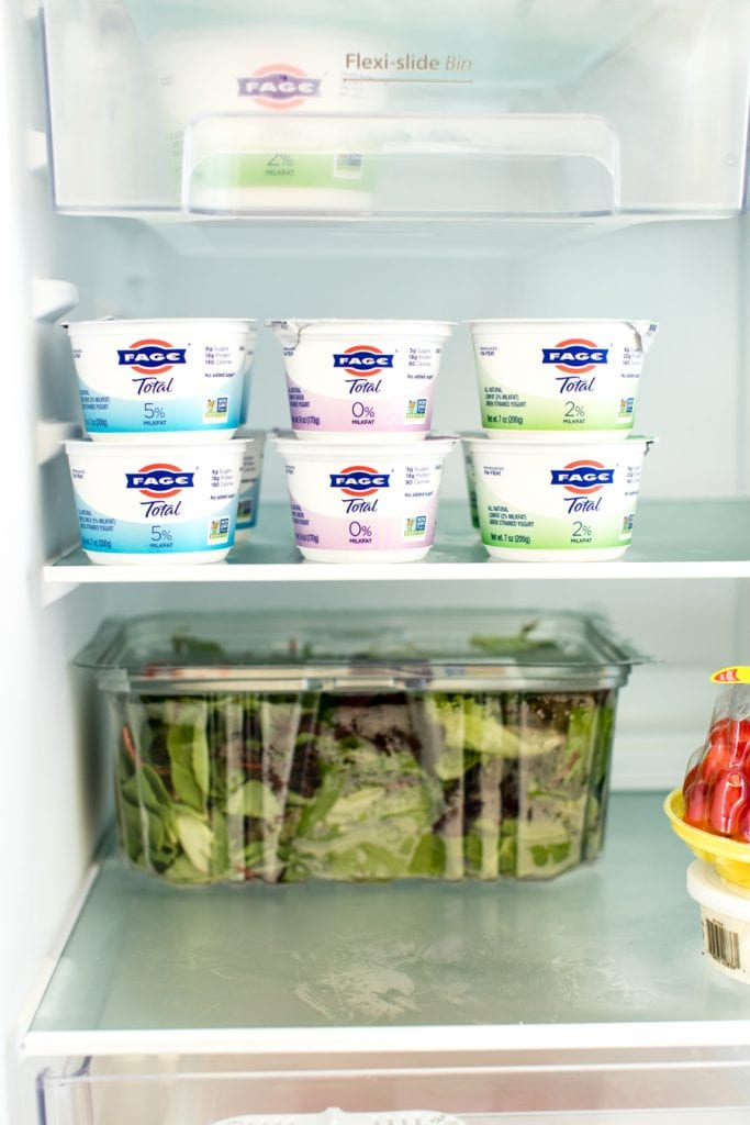 fage greek yogurt in a fridge
