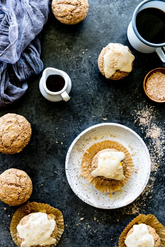 maple bran muffins with coffee on a white plate