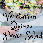 quinoa in a bowl with fresh veggies and a tahini lemon dressing