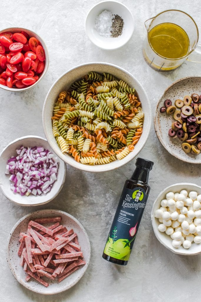 ingredients for Italian Pasta salad mise en place