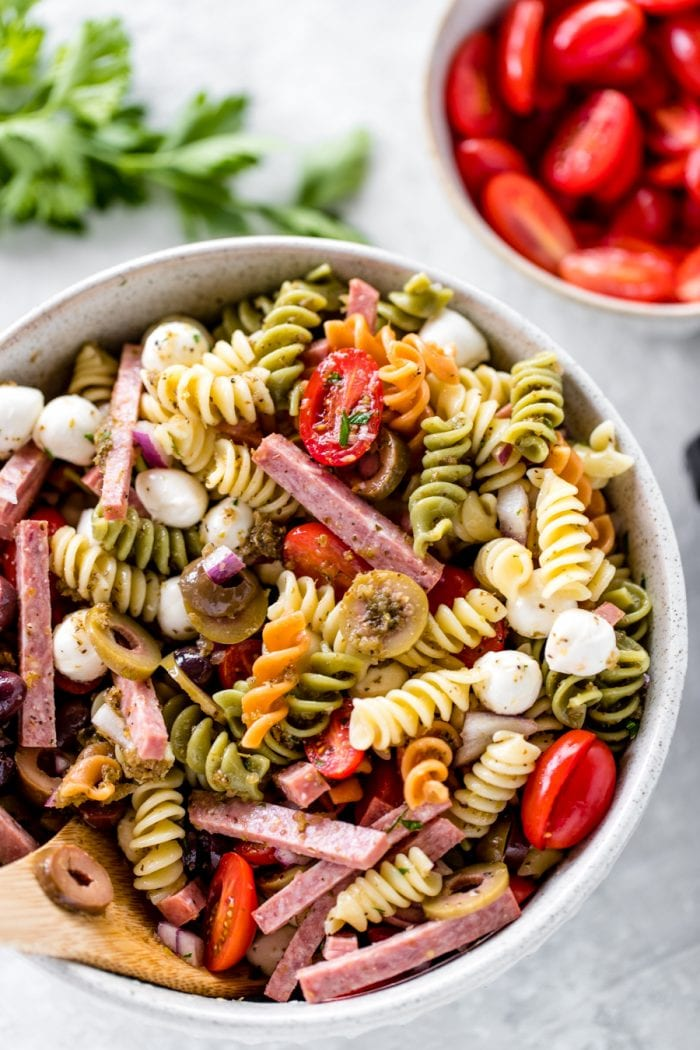 Italian Pasta Salad in a large glass bowl