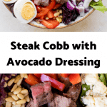 meal prep keto steak cobb salad with avocado dressing poured on top