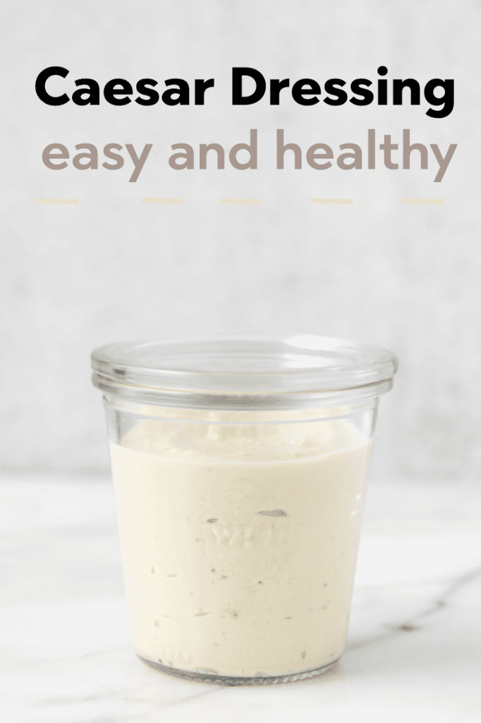 Caesar salad dressing in a glass jar