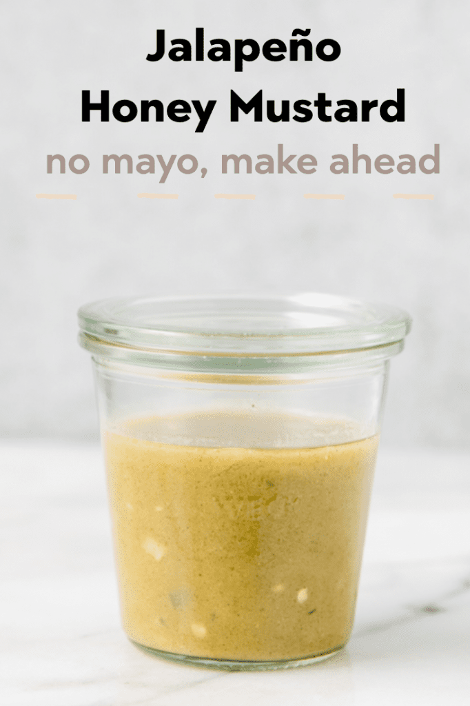 Spicy Honey Mustard salad dressing in a glass jar