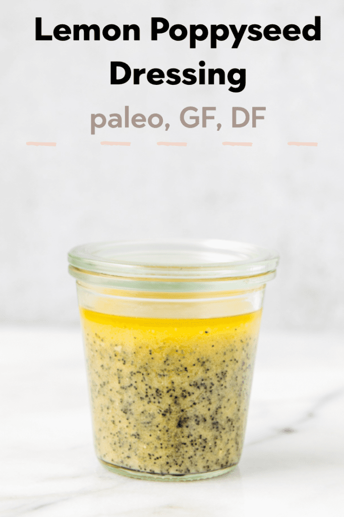 Lemon Poppyseed salad dressing in a glass jar
