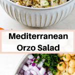 The best orzo salad tossed with a greek dressing in a large bowl ready to be served