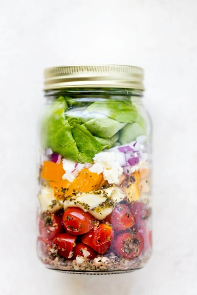 tortellini salad in a jar