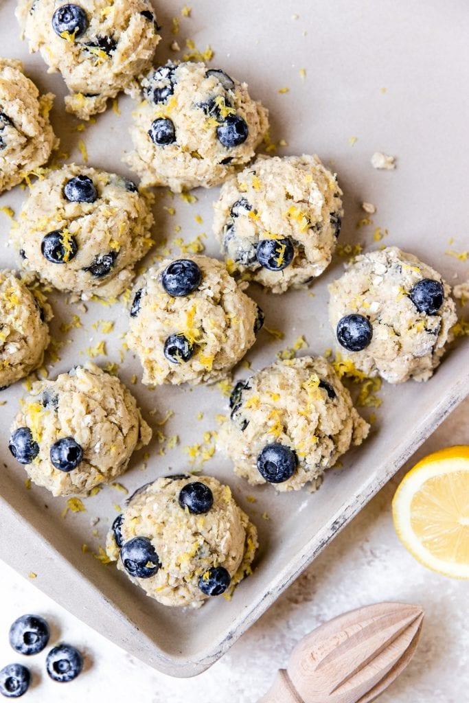 blueberry lemon cookie dough on a baking sheet