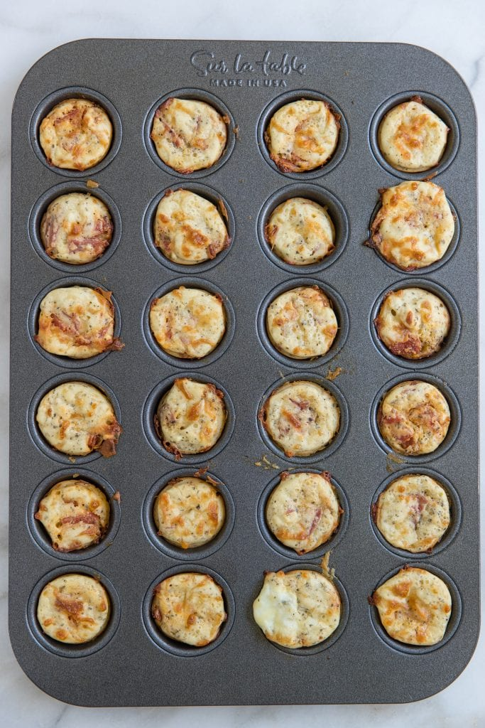 Mini Italian Pizza Bites in a mini muffin tin