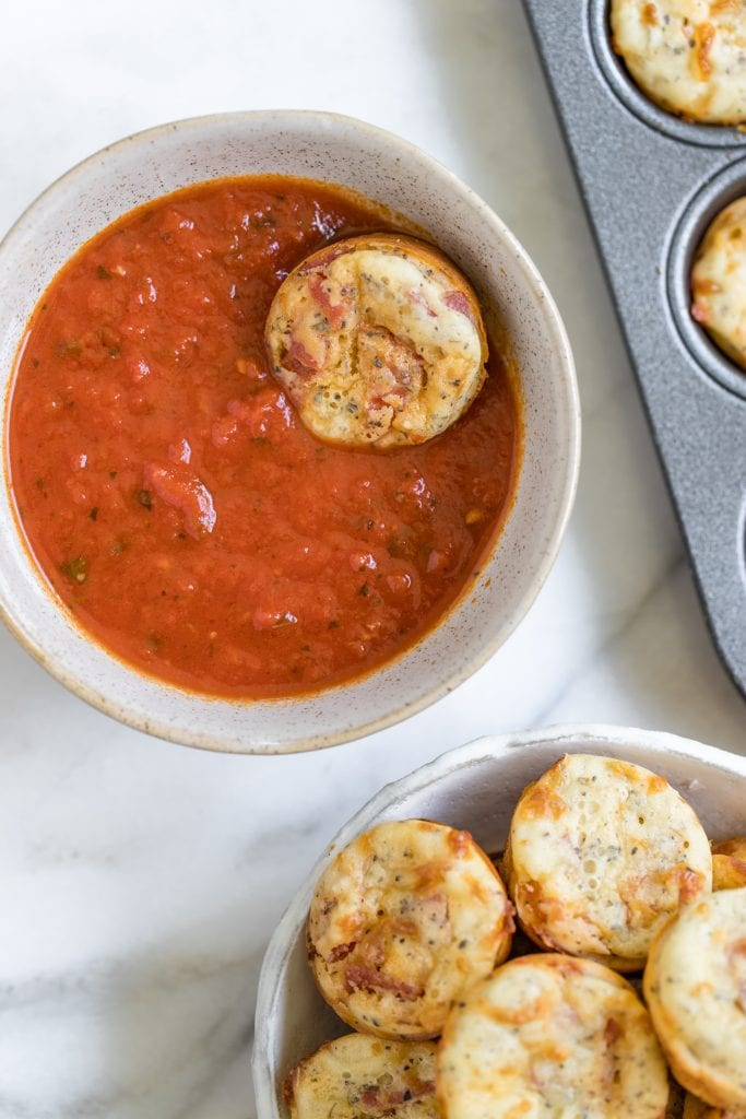 Italian pizza bites in marinara sauce