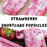 strawberry shortcake popsicle with vanilla wafer crust