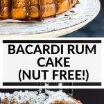 Bacardi rum cake on a cake stand with chocolate icing
