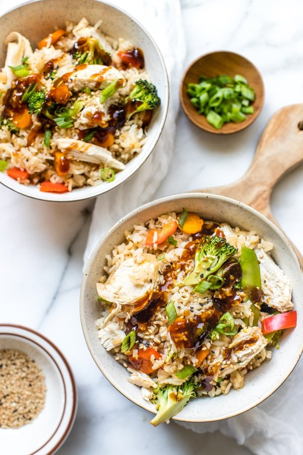 teriyaki chicken rice bowls in the instant pot