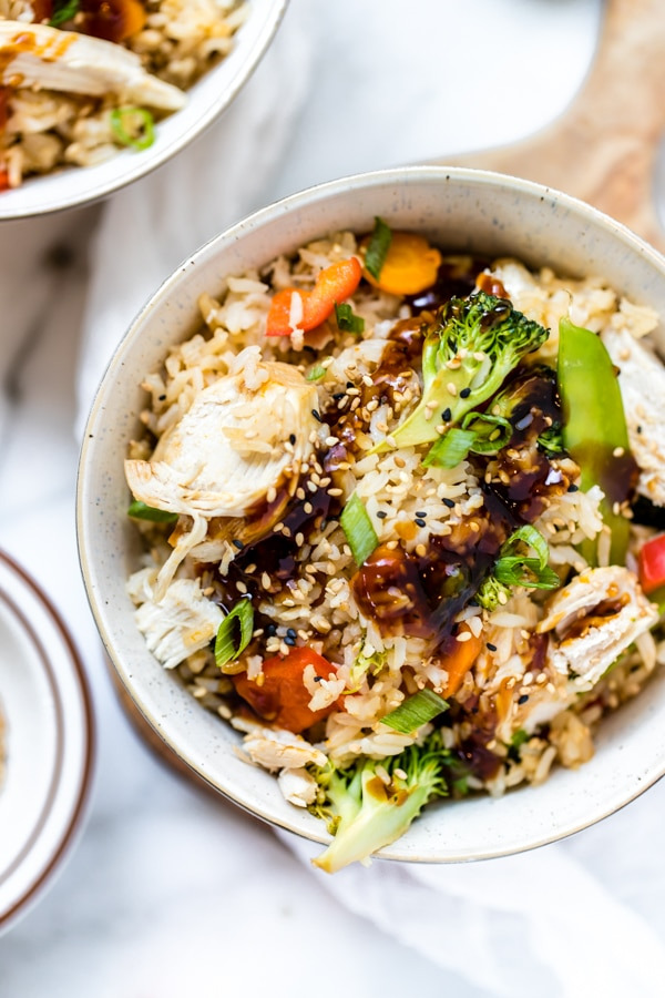 teriyaki chicken rice bowls in the instant pot made with Jasmine rice